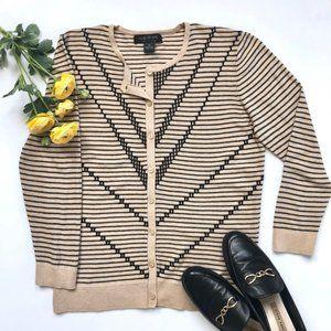 August Silk • Striped Button-Up Cardigan